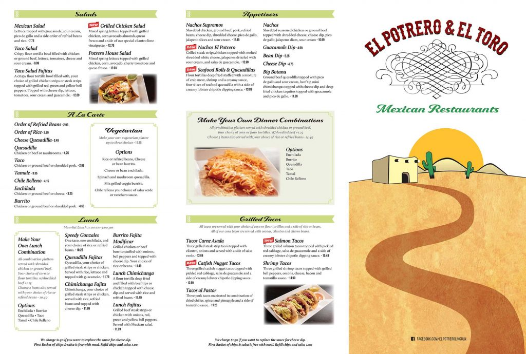 El Potrero and El Toro menu