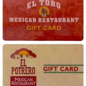 el potrero and el toro gift cards