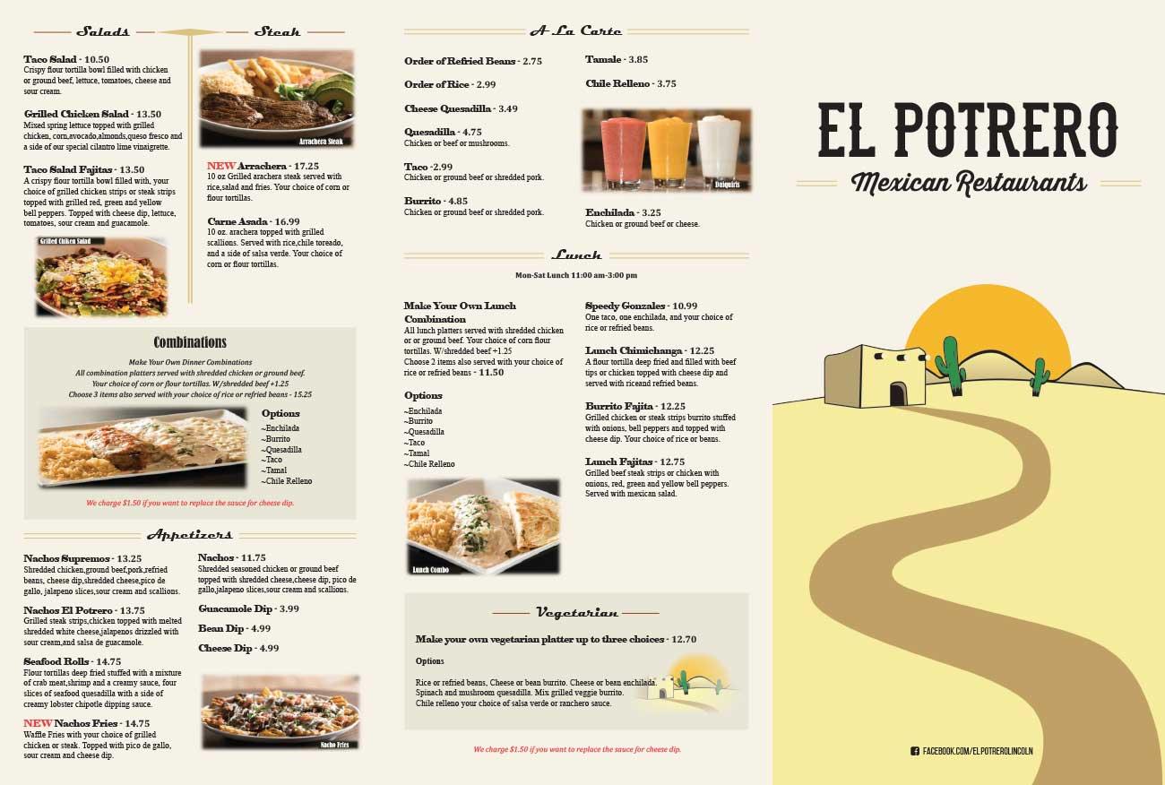 El Potrero Mexican Restaurant Menu page 1